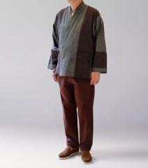 綿の樹亜羅 茶グレー赤コンビ 寛−9